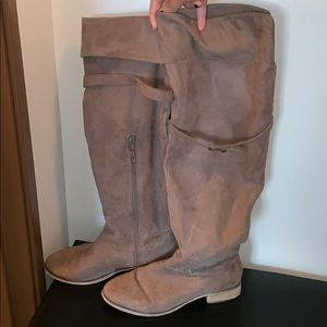 Beige Knee High Boots Size 10
